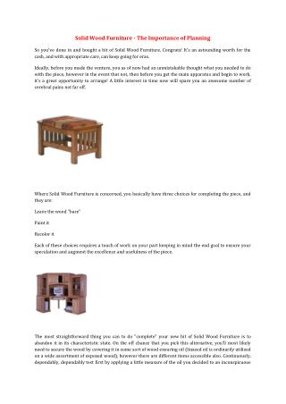 Solid Wood Furniture - The Importance of Planning