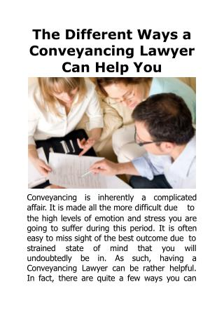 The Different Ways a Conveyancing Lawyer Can Help You
