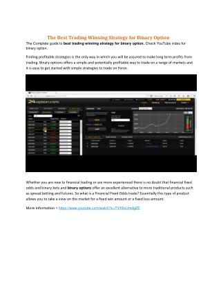 The Best Trading Winning Strategy for Binary Option