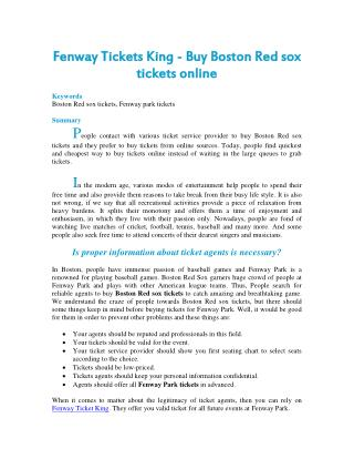 Fenway Tickets King - Buy Boston Red sox tickets online