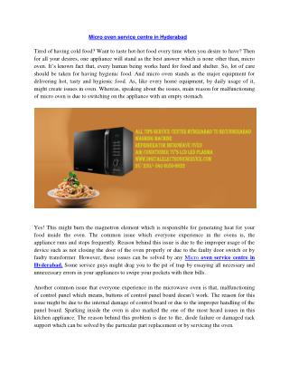 Microwave Oven Service Center in Hyderabad