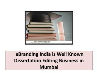 eBranding India is Well Known Dissertation Editing Business in Mumbai