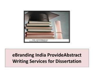 eBranding India ProvideAbstract Writing Services for Dissertation