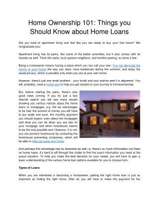 Home Ownership 101: Things you Should Know about Home Loans