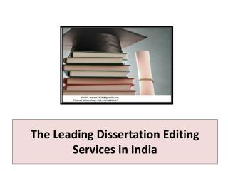 The Leading Dissertation Editing Services in India