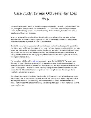 Case Study: 19 Year Old Seeks Hair Loss Help