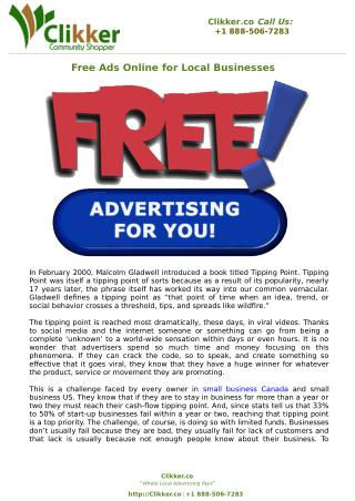 Free Ads Online for Local Businesses