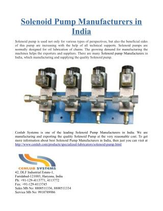 Solenoid Pump Manufacturers in India