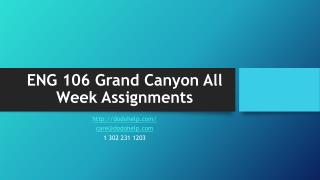 ENG 106 Grand Canyon All Week Assignments