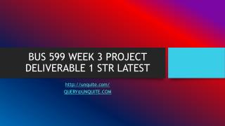 BUS 599 WEEK 3 PROJECT DELIVERABLE 1 STR LATEST