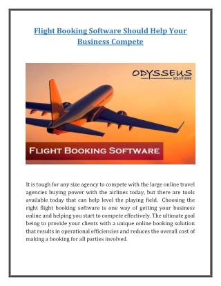 Flight Booking Software Should Help Your Business Compete