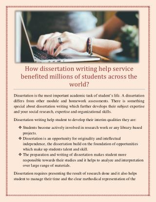 How dissertation writing help service benefited millions of students across the world?
