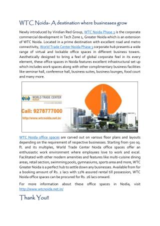 WTC Noida- A destination where businesses grow