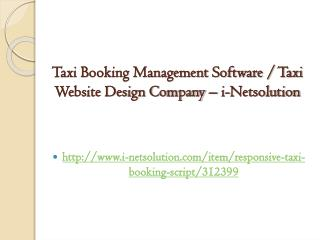 Taxi Booking Management Software / Taxi Website Design Company – i-Netsolution