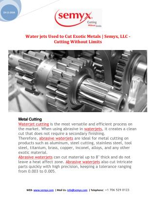 Waterjets Used to Cut Exotic Metals | Semyx, LLC - Cutting Without Limits