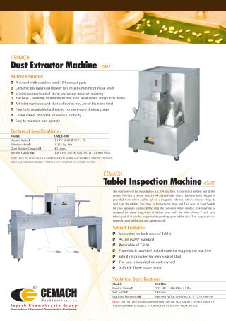 Cemach Tablet Inspection and Dust Extractor Machine cGMP