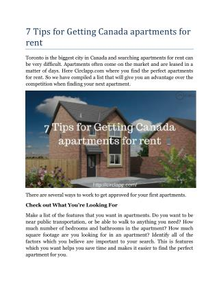 7 Tips for Getting Canada apartments for rent