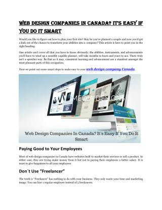 Web Design Companies In Canada? It's Easy If You Do It Smart