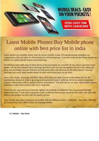 Latest Mobile Phones:Buy Mobile phone online with best price list in india