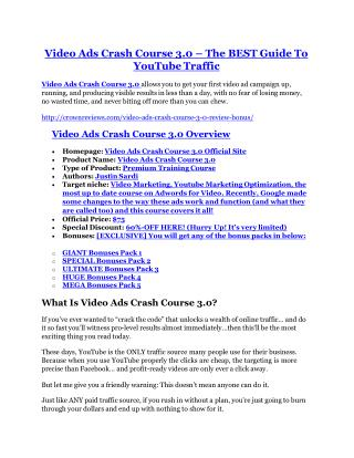 Video Ads Crash Course 3 Review-TRUST about Video Ads Crash Course 3 cand 80% discount