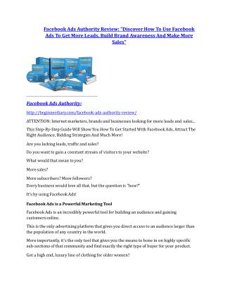 Facebook Ads Authority Review and (FREE) Facebook Ads Authority $24,700 Bonus