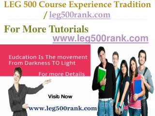 LEG 500 Course Experience Tradition / leg500rank.com