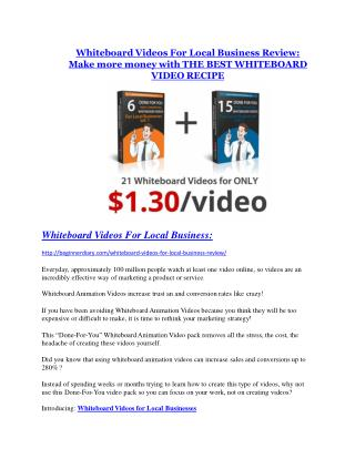 Whiteboard Videos For Local Business Review - Whiteboard Videos For Local Business  100 bonus items
