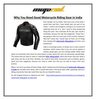 Why You Need Good Motorcycle Riding Gear in India
