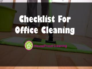 Checklist for Office Cleaning