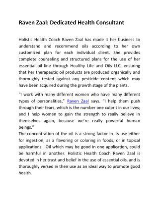 Raven Zaal : Dedicated Health Consultant