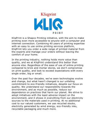 Kliqprint- Most Awarded Online Brochure and Flyer Printing Services
