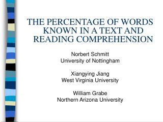 THE PERCENTAGE OF WORDS KNOWN IN A TEXT AND READING COMPREHENSION   Norbert Schmitt University of Nottingham   Xiangying