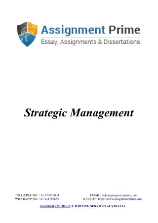 Assignment Prime - Sample Assignment on Strategic Management