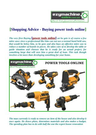 Shopping Advice - Buying power tools online