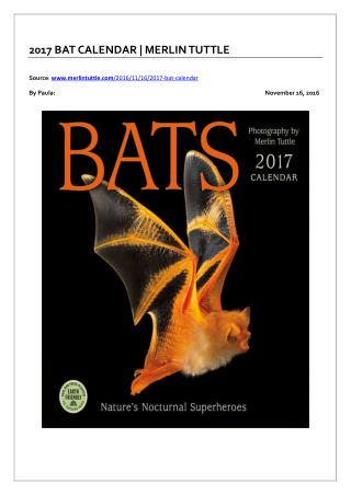 2017 Bat Calendar | Merlin Tuttle
