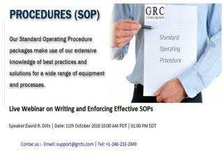 Writing and Enforcing Effective SOPs