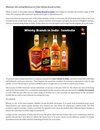 Milestone 100: Setting Milestone for Other Whisky Brands in India