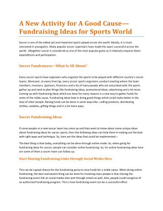 A New Activity for A Good Cause—Fundraising Ideas for Sports World