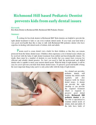 Richmond Hill based Pediatric Dentist prevents kids from early dental issues