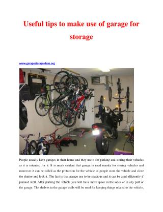 Useful tips to make use of garage for storage