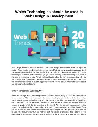 Which Technologies should be used in Web Design & Development?