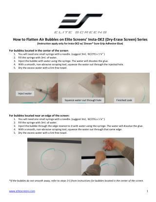 Remove Insta-DE2 air bubbles