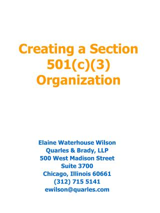 Creating a Section 501(c)(3) Organization