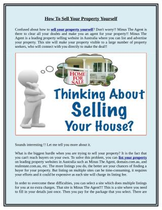 How to Sell Your Property Yourself
