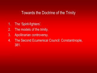 Towards the Doctrine of the Trinity