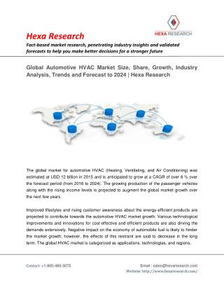 Automotive HVAC Market To Witness Growth At 8% CAGR Till 2024 - Research Report by Hexa Research