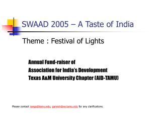 SWAAD 2005 – A Taste of India