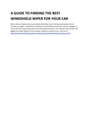 A GUIDE TO FINDING THE BEST WINDSHIELD WIPER FOR YOUR CAR