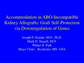 Accommodation in ABO-Incompatible Kidney Allografts: Graft Self-Protection via Downregulation of Genes