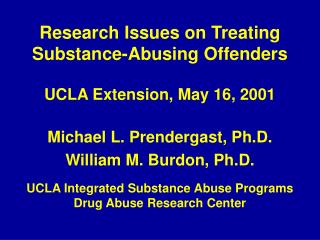 Research Issues on Treating Substance-Abusing Offenders
